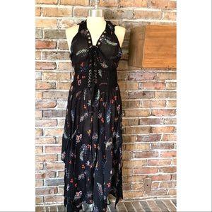 Free People Fp One Wildflower Boho Lace-Up Dress